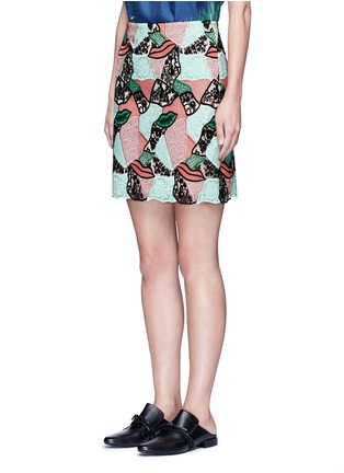 Front View - Click To Enlarge - Emilio Pucci - Patchwork lips lace pencil skirt