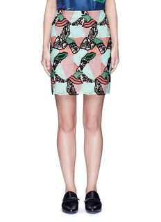 Emilio Pucci Patchwork lips lace pencil skirt