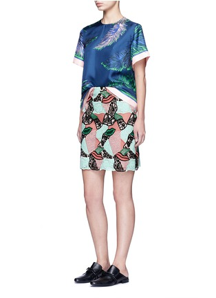 Figure View - Click To Enlarge - Emilio Pucci - Patchwork lips lace pencil skirt