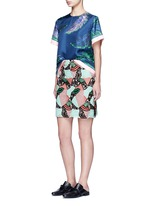 Patchwork lips lace pencil skirt
