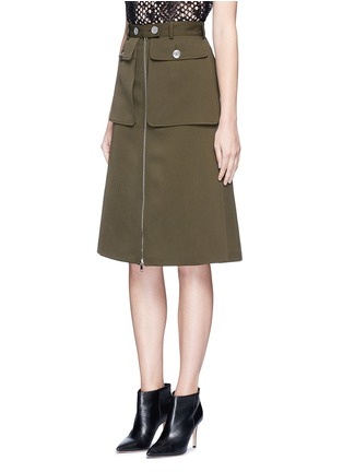 Front View - Click To Enlarge - Alexander McQueen - Cavalry twill zip front military skirt