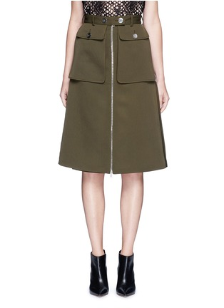 Main View - Click To Enlarge - Alexander McQueen - Cavalry twill zip front military skirt