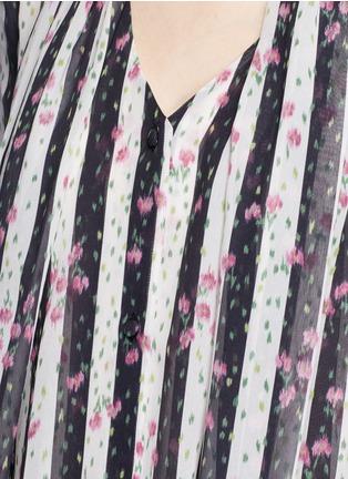 Detail View - Click To Enlarge - Lanvin - Stripe floral print silk blouse