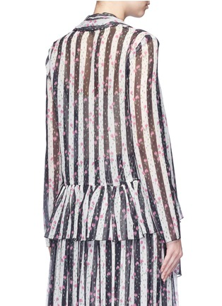 Back View - Click To Enlarge - Lanvin - Stripe floral print silk blouse