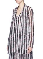 Stripe floral print silk blouse
