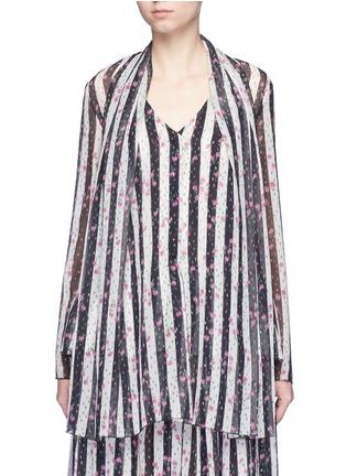 Lanvin-Stripe floral print silk blouse