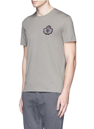 Front View - Click To Enlarge - Alexander McQueen - Military skull patch embroidery T-shirt