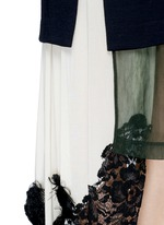 Cotton poplin wool knit combo asymmetric layer dress