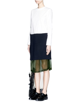 Figure View - Click To Enlarge - TOGA ARCHIVES - Cotton poplin wool knit combo asymmetric layer dress
