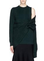 Asymmetric wrap layer wool sweater