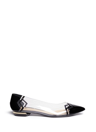 Main View - Click To Enlarge - Nicholas Kirkwood - Patent leather chevron PVC flats