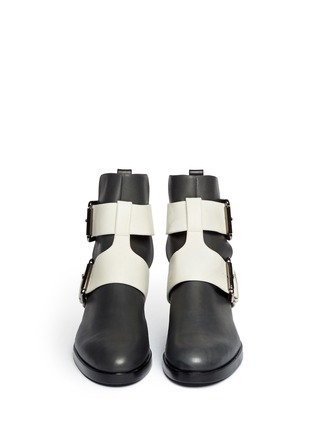 Figure View - Click To Enlarge - Pierre Hardy - Colourblock double buckle ankle boots