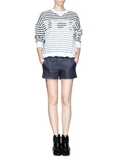 SACAI LUCK Lucky logo stripe cotton sweater