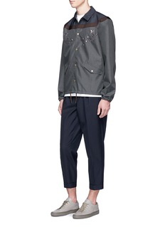 kolorContrast waist embroidered cropped pants