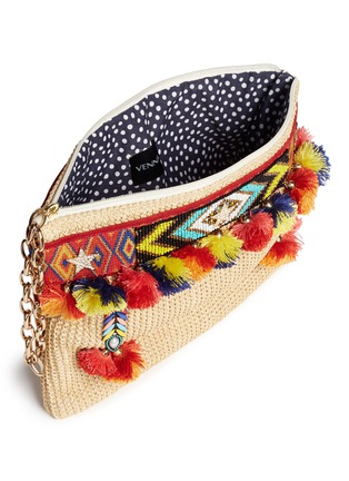 Detail View - Click To Enlarge - Venna - 'Lovely' embroidered tribal beadwork pompom raffia clutch