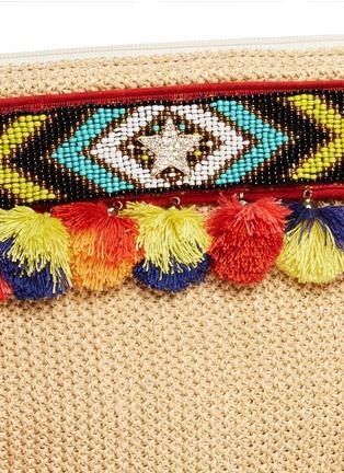 - Venna - 'Lovely' embroidered tribal beadwork pompom raffia clutch