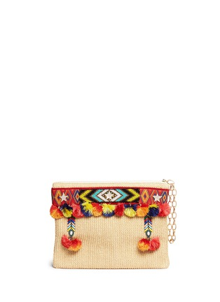 Main View - Click To Enlarge - Venna - 'Lovely' embroidered tribal beadwork pompom raffia clutch