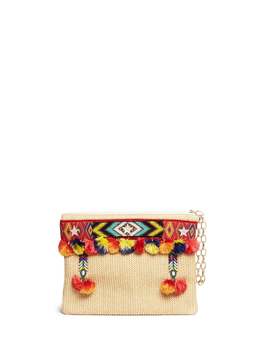 Lovely embroidered tribal beadwork pompom raffia clutch by Venna
