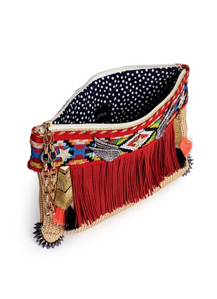 Detail View - Click To Enlarge - Venna - 'Lovely' suede fringe tribal beadwork pompom raffia clutch