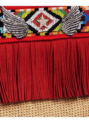 - Venna - 'Lovely' suede fringe tribal beadwork pompom raffia clutch