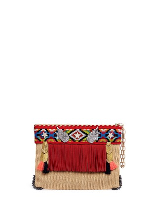 Main View - Click To Enlarge - Venna - 'Lovely' suede fringe tribal beadwork pompom raffia clutch