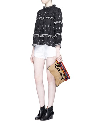Figure View - Click To Enlarge - Venna - 'Lovely' suede fringe tribal beadwork pompom raffia clutch