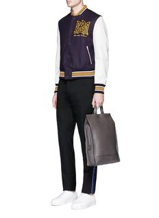 Alexander McQueenLogo patch leather sleeve varsity jacket