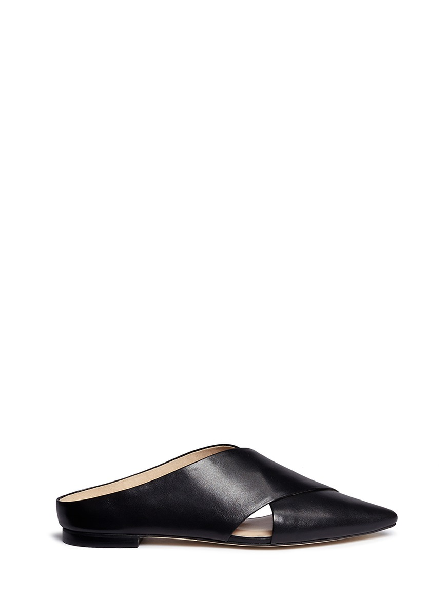Crossover leather mules by Pedder Red