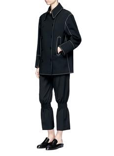 Stella McCartneySmocked kick flare wool pants