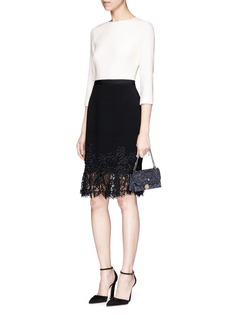 Oscar de la Renta Guipure lace trim virgin wool blend crepe dress