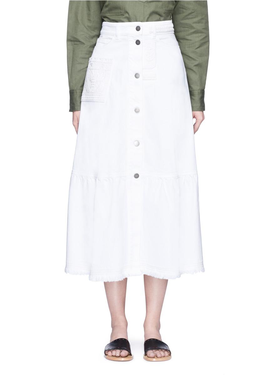 Beaded butterfly appliqué denim skirt by Valentino