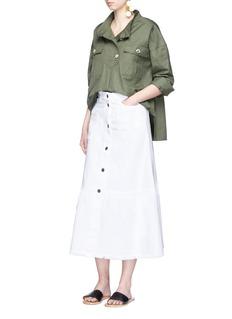 ValentinoBeaded butterfly appliqué denim skirt