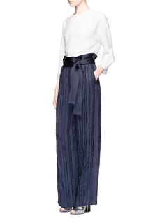 3.1 Phillip LimFringe embroidered stripe wide leg pants