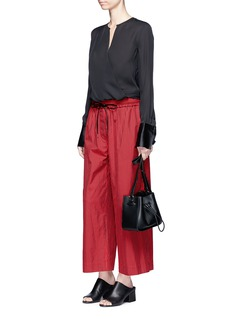 3.1 Phillip LimStripe cotton-silk drawstring wide leg pants