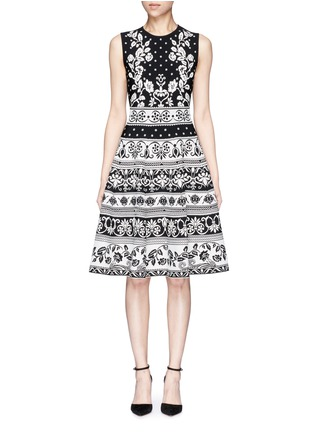 Main View - Click To Enlarge - Alexander McQueen - Spring floral intarsia flared dress