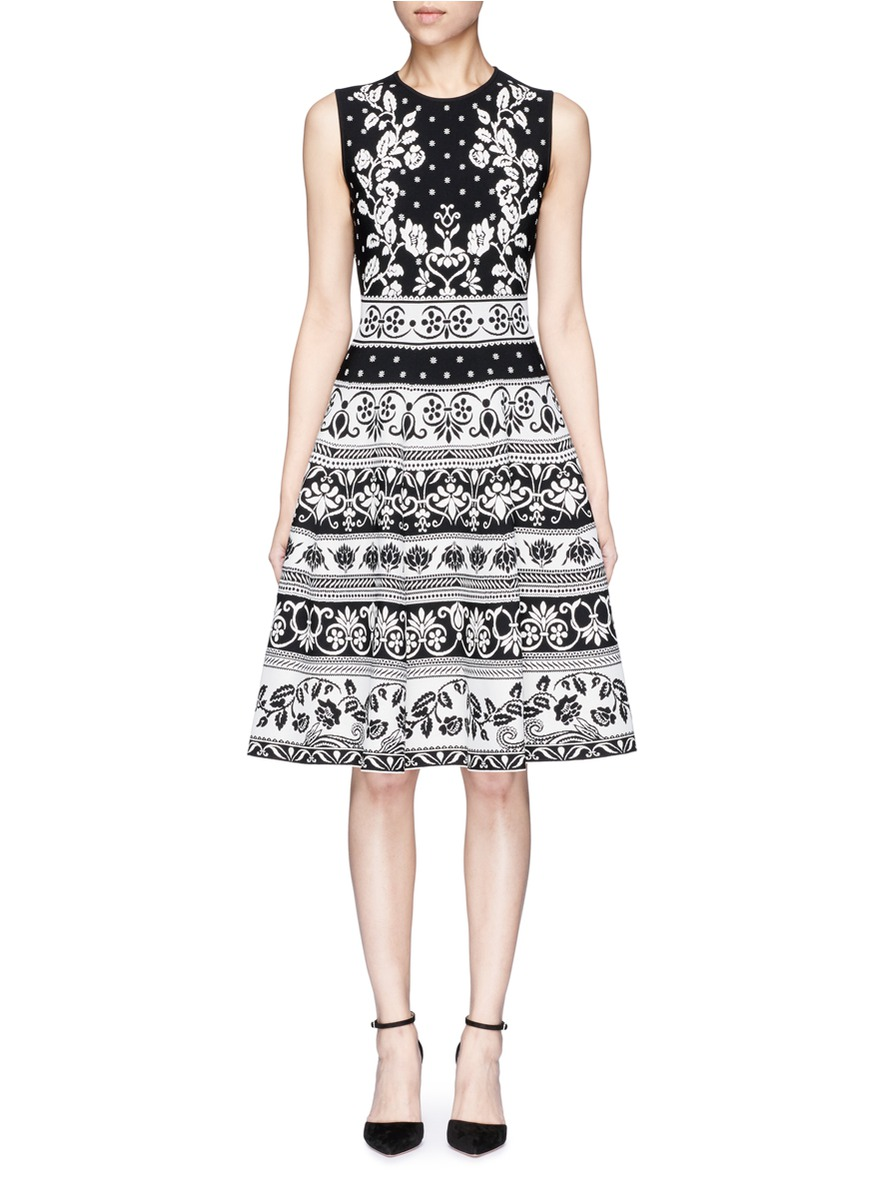 Spring floral intarsia flared dress by Alexander McQueen