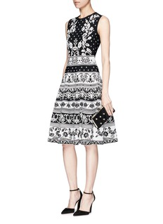 Alexander McQueen Spring floral intarsia flared dress