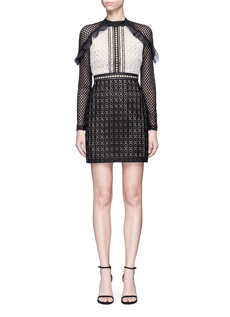 Geometric Mini organza frill guipure lace dress by self-portrait