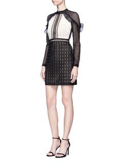 self-portrait'Geometric Mini' organza frill guipure lace dress