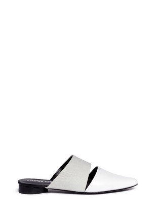 Main View - Click To Enlarge - Opening Ceremony - 'Livre' embossed leather slide mules