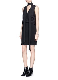 Alexander Wang  Surplice front silk and crepe dress