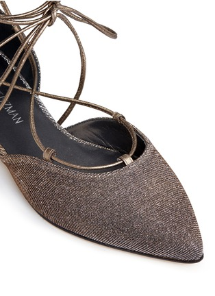 Detail View - Click To Enlarge - Stuart Weitzman - 'Gilligan' lace-up glitter flats
