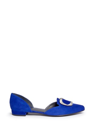 Main View - Click To Enlarge - Stuart Weitzman - 'Dorsini' metal brooch suede d'Orsay flats