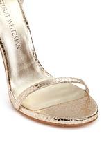 'Nudist Song' crack effect metallic leather sandals