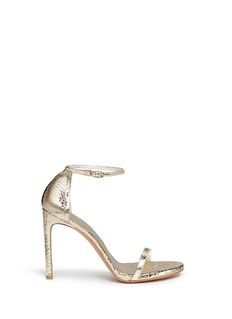 Stuart Weitzman 'Nudist Song' crack effect metallic leather sandals