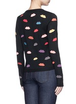 Lips embroidery wool cardigan