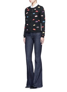 alice + olivia Lips embroidery wool cardigan