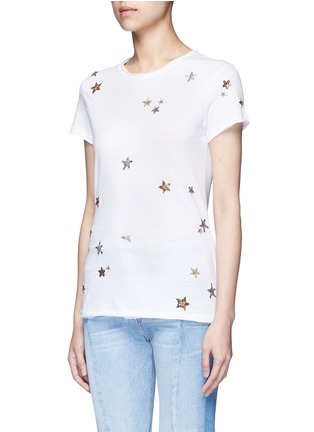 Front View - Click To Enlarge - Valentino - Embellished metallic star jersey T-shirt