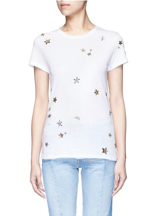 Main View - Click To Enlarge - Valentino - Embellished metallic star jersey T-shirt