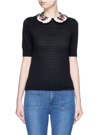 Main View - Click To Enlarge - alice + olivia - 'Remmie' removable floral embroidered collar knit top